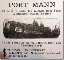 Port Mann real estate advertisment 1911