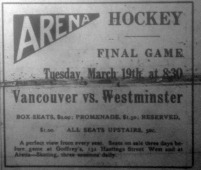 1912-03-19 Vancouver Arena - BCHA  hockey final advert