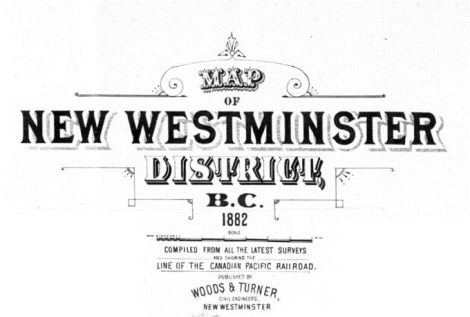 Map of New Westminster District BC 1882 title clip
