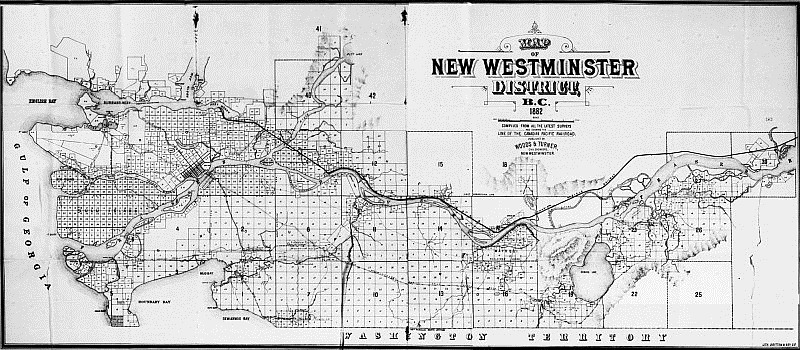 Map of New Westminster District BC  1882 - Woods & Turner