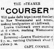 1892 09 15 steamer Courser daily to Chilliwack Capt Cooper - advert