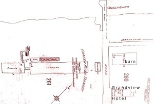 Grandview Hotel barn fire map
